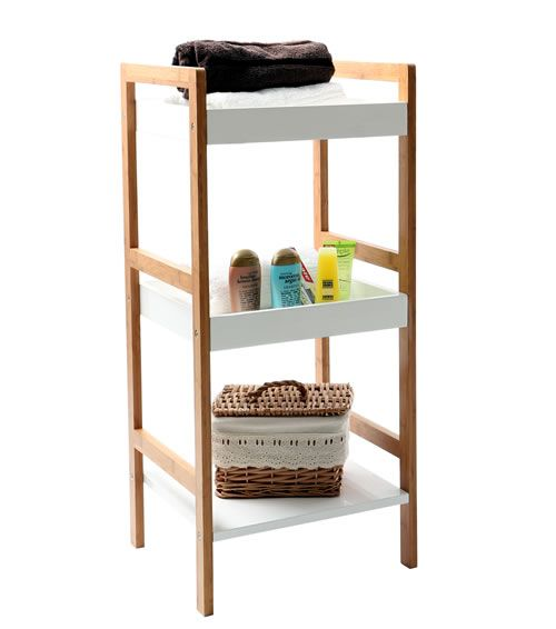 Gloss White U0026 Bamboo Shelving Unit   3 Tier   Home Storage Systems From  Store