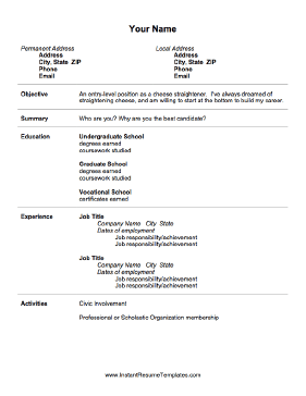 Free Resume Templates Entry Level Entry Freeresumetemplates Level Resume Templates Best Resume Template Job Resume Template Resume Examples