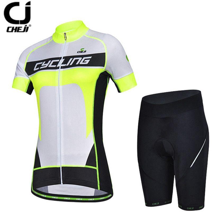 CHEJI Women Cycling clothing Pro MTB Bike Jerseys Shorts Sets White Green  Team bicycle Shirts Bike 9b089b59f