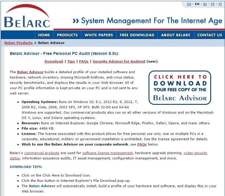 Belarc Advisor - Free Personal PC Audit (Version 8 5c) The