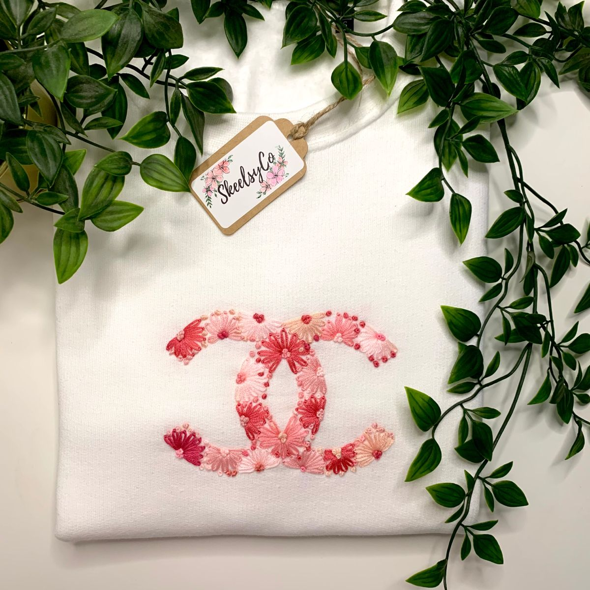 Floral Pink Hand Embroidered Designer Logo Sweatshirt