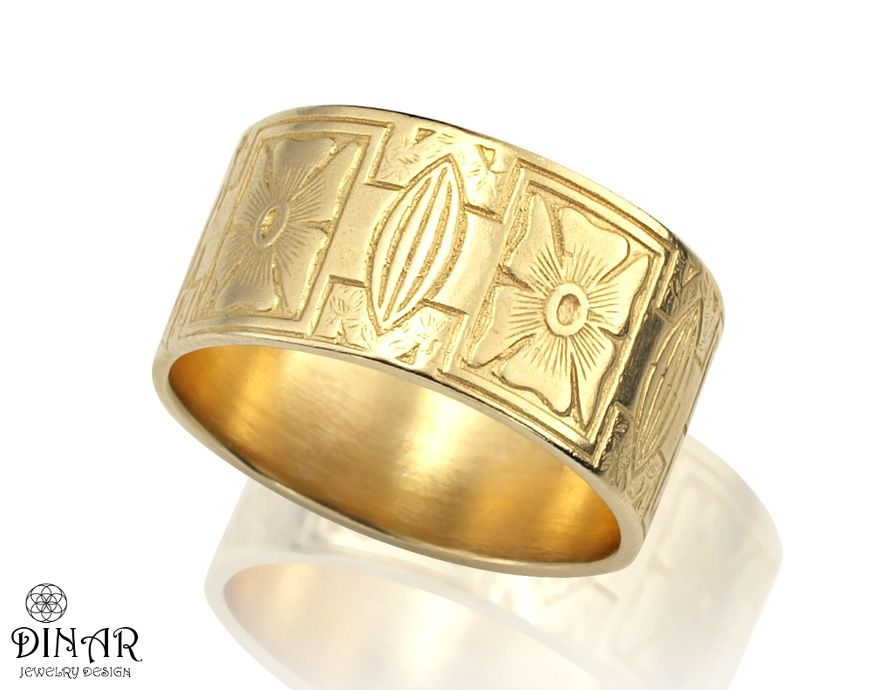 This 14k Yellow Gold Ring Band Features A Beautiful Floral Pattern Engraved In A Romant Mens Yellow Gold Wedding Bands Wide Wedding Bands Yellow Gold Ring Band