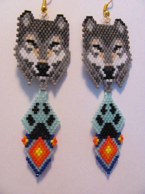 Hand Beaded Grey Wolf dangling earrings with paw and diamond dangle ...