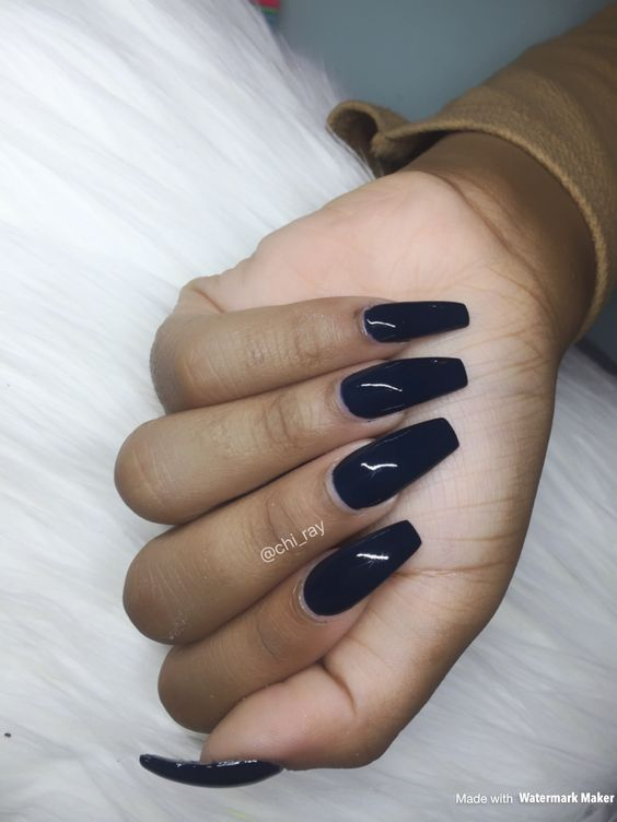 55 Acrylic Coffin Nail Designs For Fall and Winter | Navy blue nails ...
