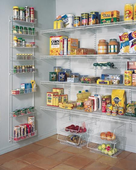 Wire shelving in pantry. Like the baskets on the floor | Pantry ...