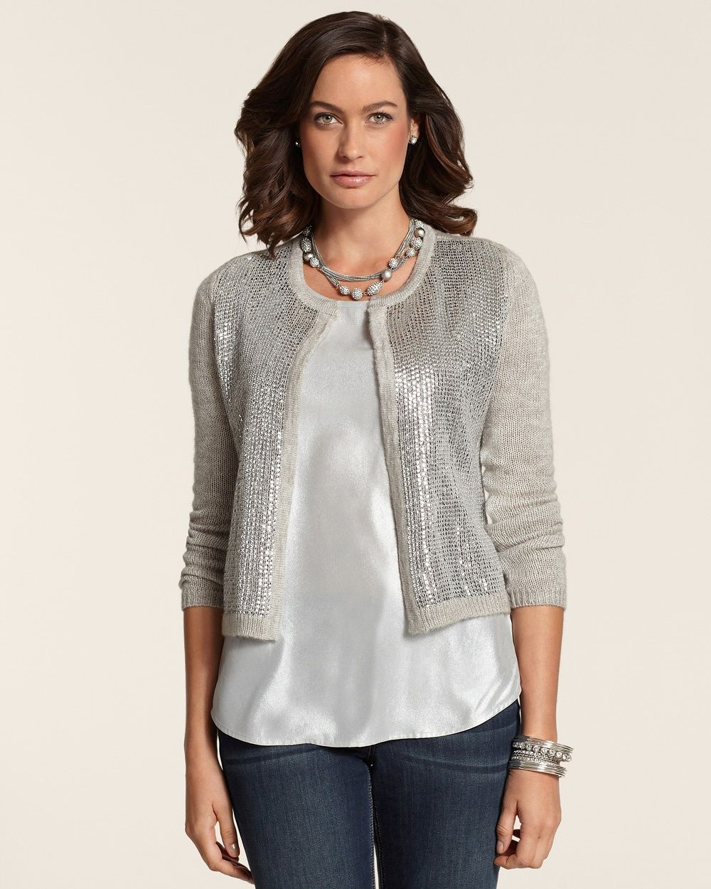 Chico's Women's Shae Sequin Cardigan, Heather Pale Taupe, Size: 3 ...