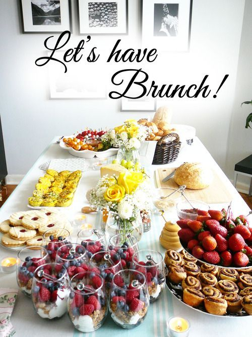 Lovely brunch at home brunch party brunch and brunch table Brunch table decorations