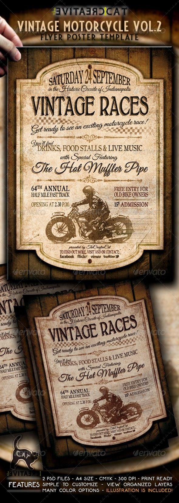 vintage motorcycle flyer poster vol 2 print templates flyers events