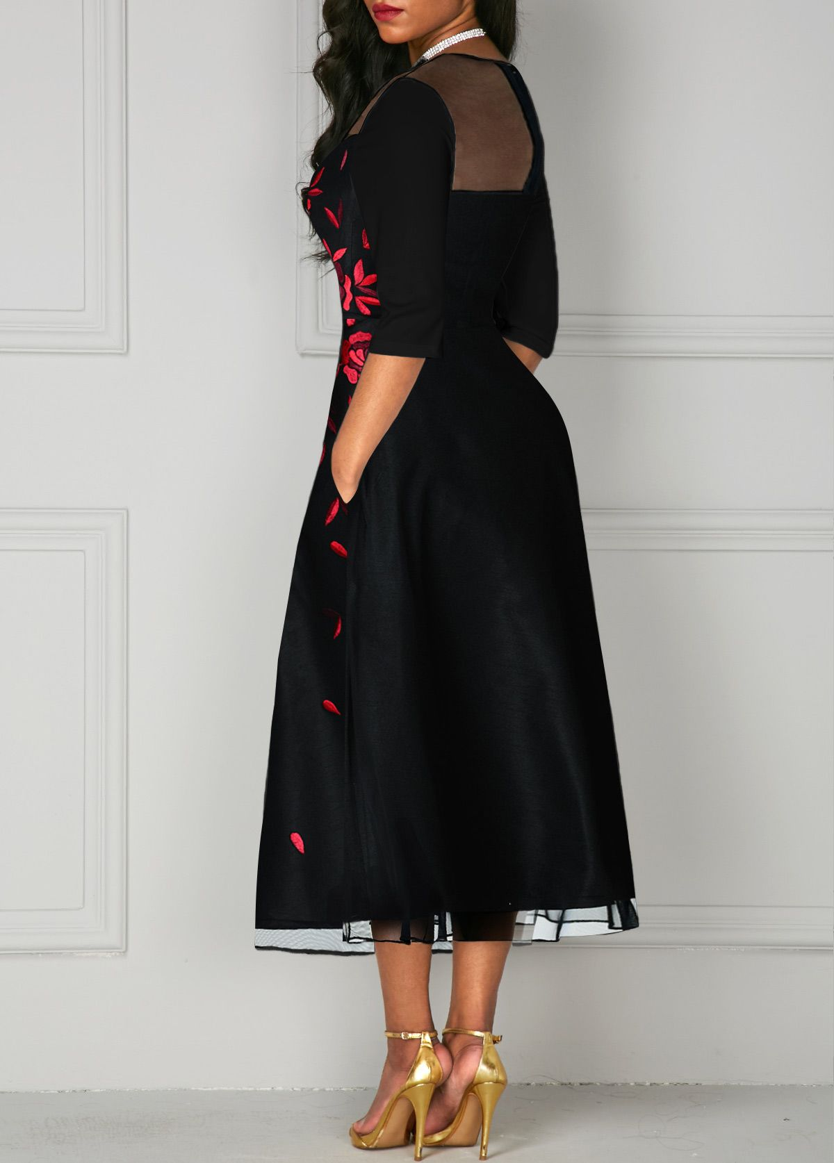 V Neck Mesh Panel Flower Print Black Dress Vintage