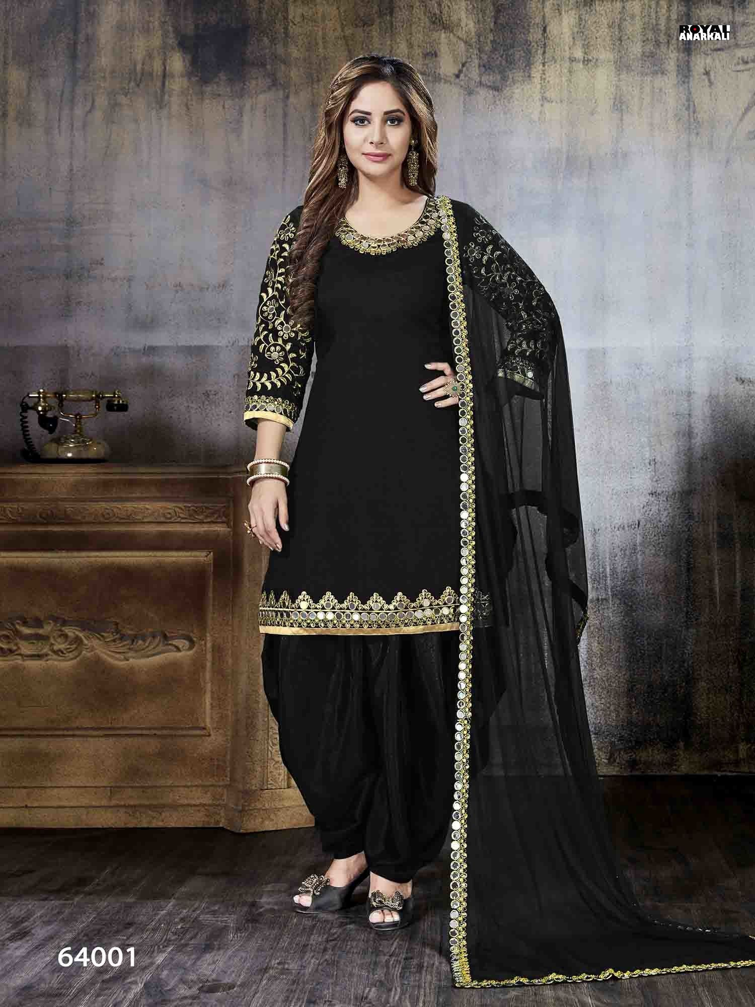 00a0f9586f Awe Inspiring Black Color Attractive Art Silk Patiala Suit With Net Dupatta