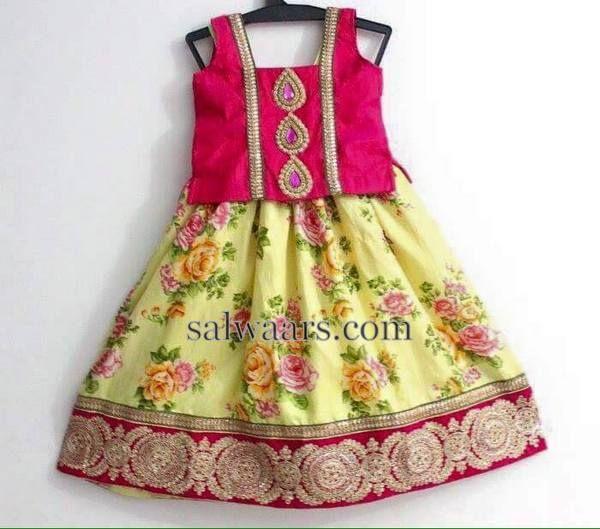 ca2607d15 Floral Lehenga in Lemon Yellow | kids lehangas | Floral lehenga ...