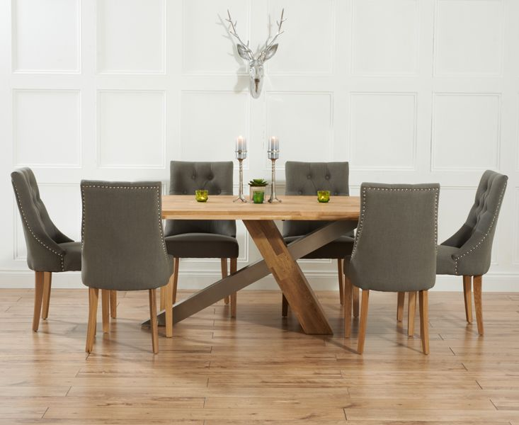 contemporary kitchen Magnificent Dining Table And Fabric Chairs Ridley Oak Amp Stainless Steel Criss Cross : dining table sets with fabric chairs - pezcame.com