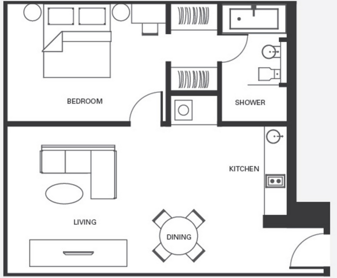 Open Floor Plan Mother In Law Suite 500 Sq Ft Mother In Law Apartment Tiny House Floor Plans Apartment Floor Plan