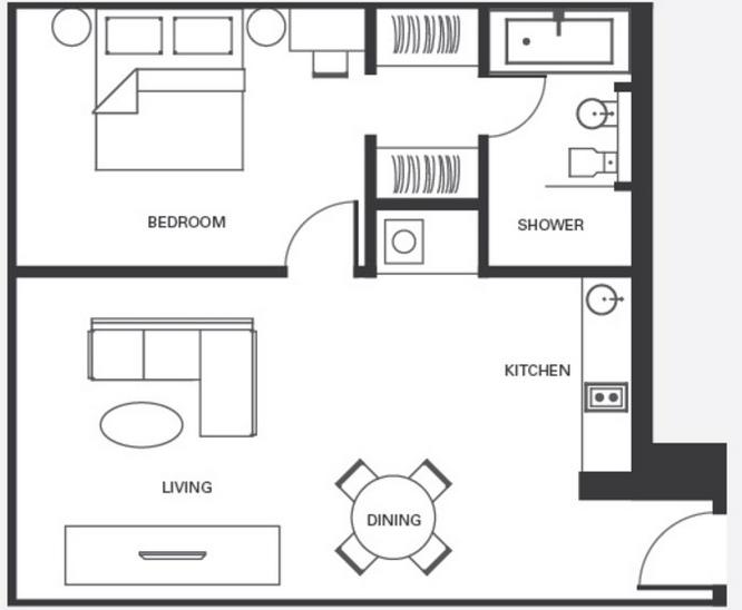 Open Floor Plan Mother In Law Suite 500 Sq Ft Mother In Law Apartment Apartment Floor Plan Tiny House Floor Plans