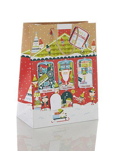 Large Santa's Workshop Christmas Gift Bag | M&S ...