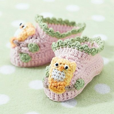 Pair of Pink Owl Crocheted Cotton Booties
