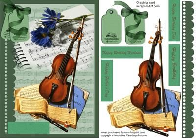 Musical Interlude on Craftsuprint designed by Ceredwyn Macrae - A lovely card front of musical interludea lovely card to send to any male on his special day has four greeting tags and a blank one for you to choose the greeting or use your own  - Now available for download!