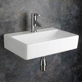 Large Bathroom Wall Hung Basin Rectangle White Sink 510mmm X 360mm Calabria Wall Mounted Basins White Sink Bathroom Basin