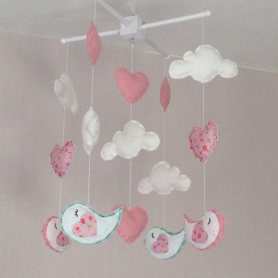 Baby Mobile Cot Bird Cloud Nursery Decor Pink