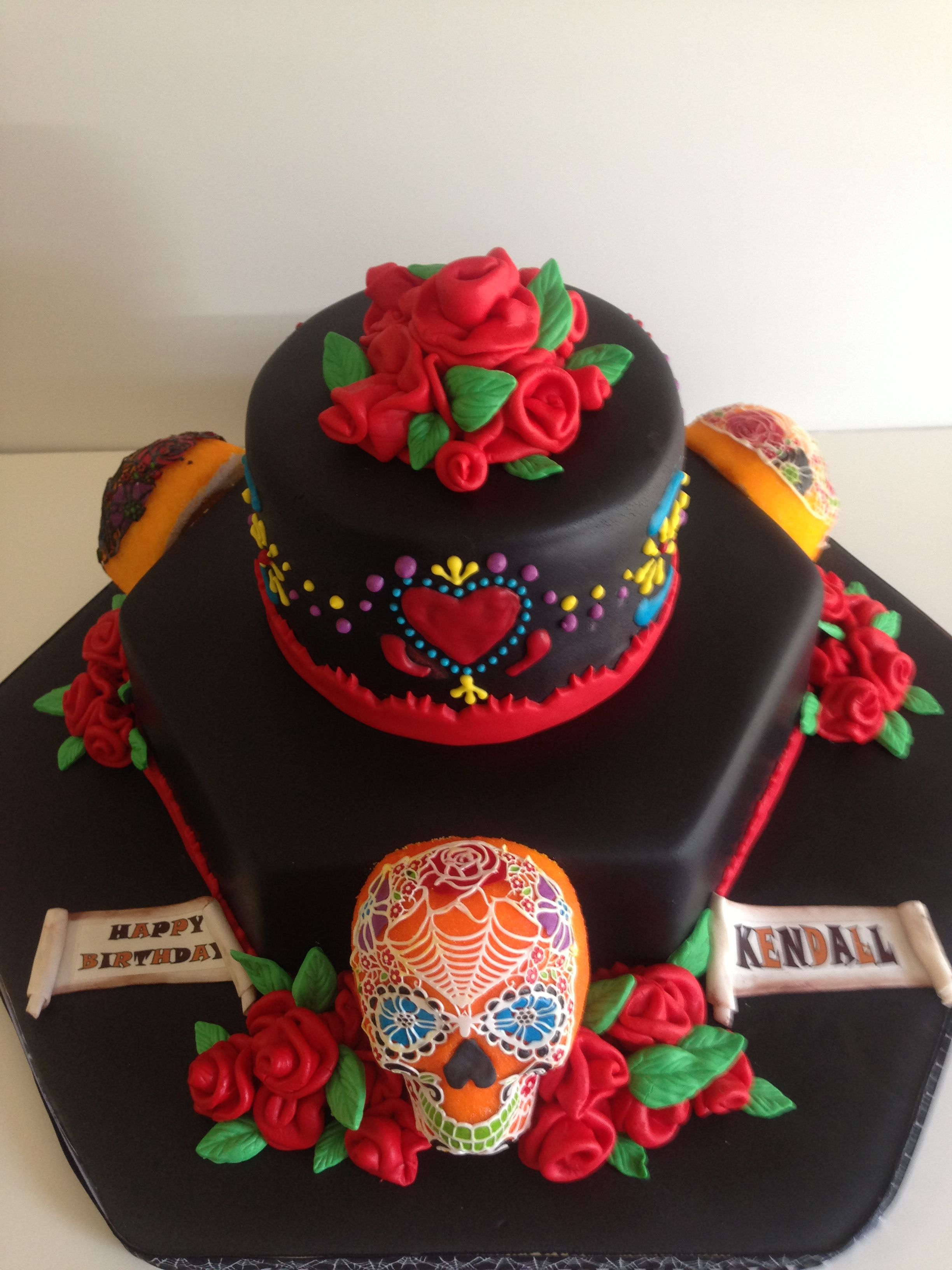 Sugar Skull Cake Day Of The Dead Black Red Gothic Sugar