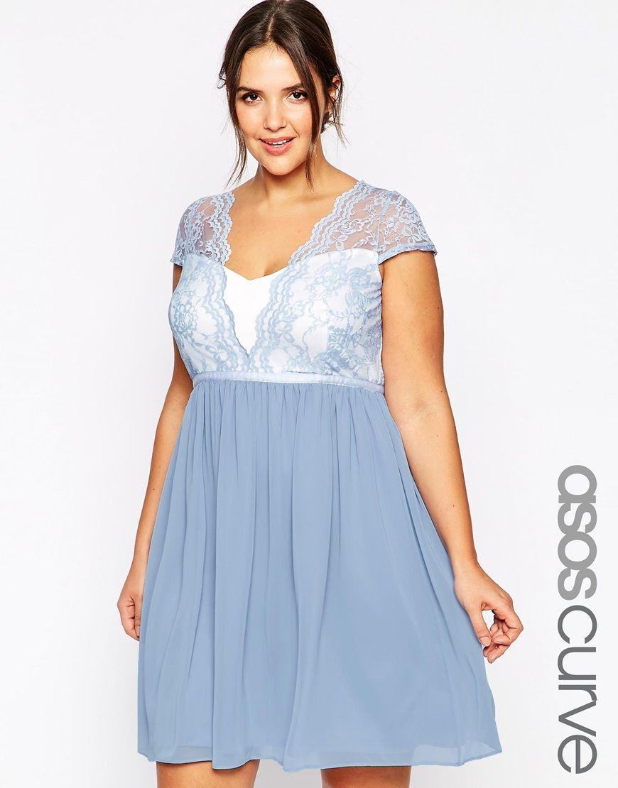 ASOS CURVE Scalloped Lace Skater Dress - Blue | Plus Size, Ubrania w ...