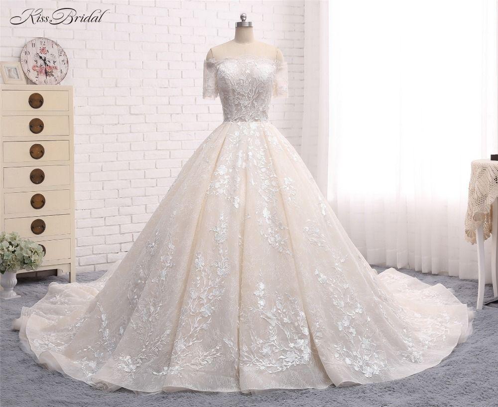 Dipped wedding dress  Luxury New Long Wedding Dress  Boat Neck Short Sleeves Chapel