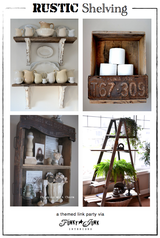 Party junk 201 diy rustic shelving ideas rustic for Funky home decor