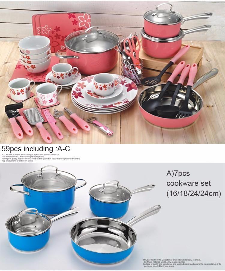 59 Piece Casserole Aluminum Cookware Cooking Pots And Pans Set