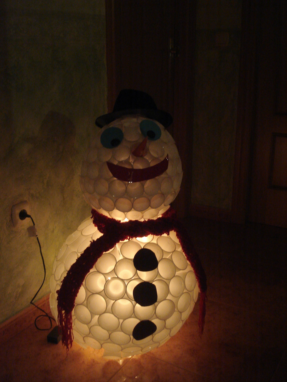 Muñeco Nieve Luminoso Con Vasos Desechables Proyectos Para Navidad