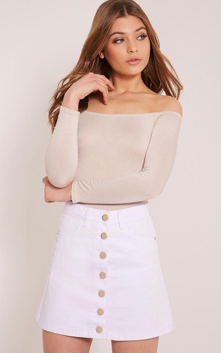 1db19fa73346 Kaela White Denim Button Down Skirt | Dream Closet in 2019 | White ...