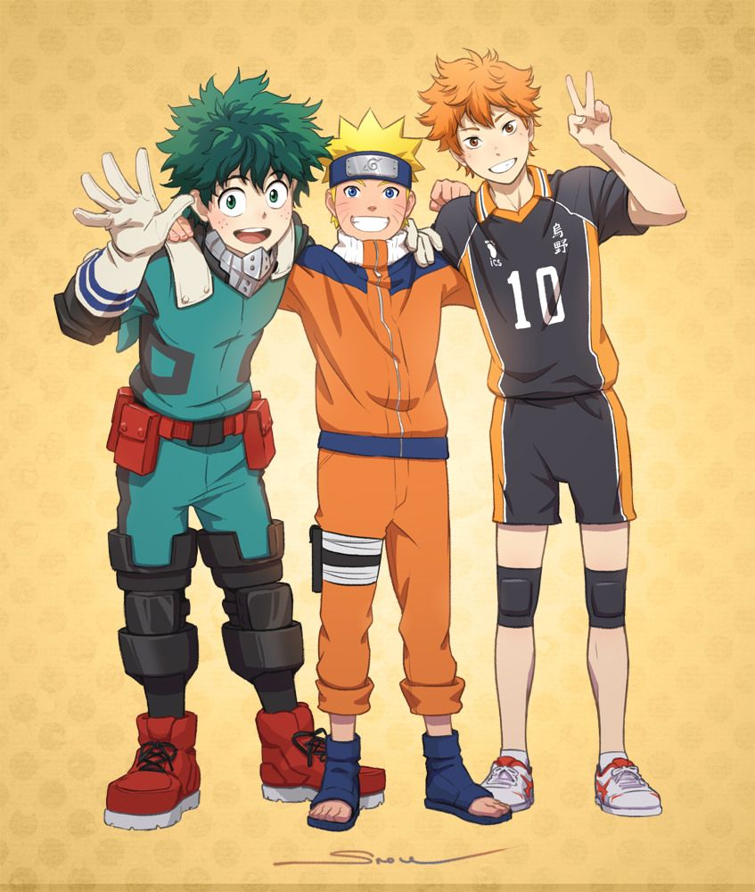 Naruto, My hero academia and HAIKYUU Anime crossover, My