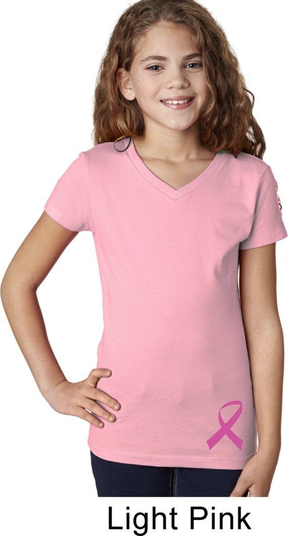 ef3e9f19ed6 Girl s Breast Cancer Awareness Shirt Pink Ribbon Bottom Print V-neck Tee T-Shirt  RIBBON-3740