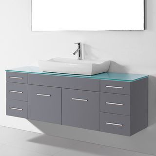 Virtu Usa Biagio 56 Inch Single Bathroom Vanity Cabinet Set In Grey