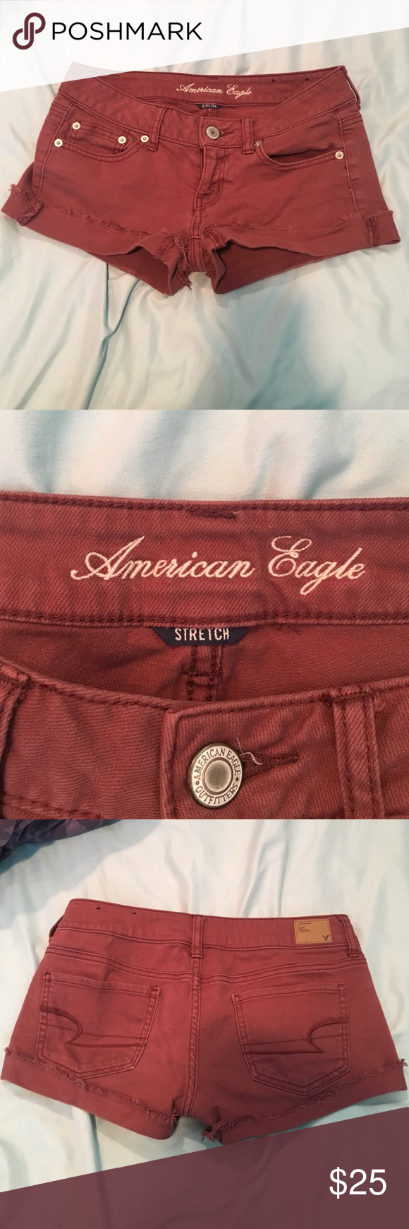 American eagle burnt red stretch shorts American eagle burnt red stretch shorts size 4 American Eagle Outfitters Shorts Jean Shorts