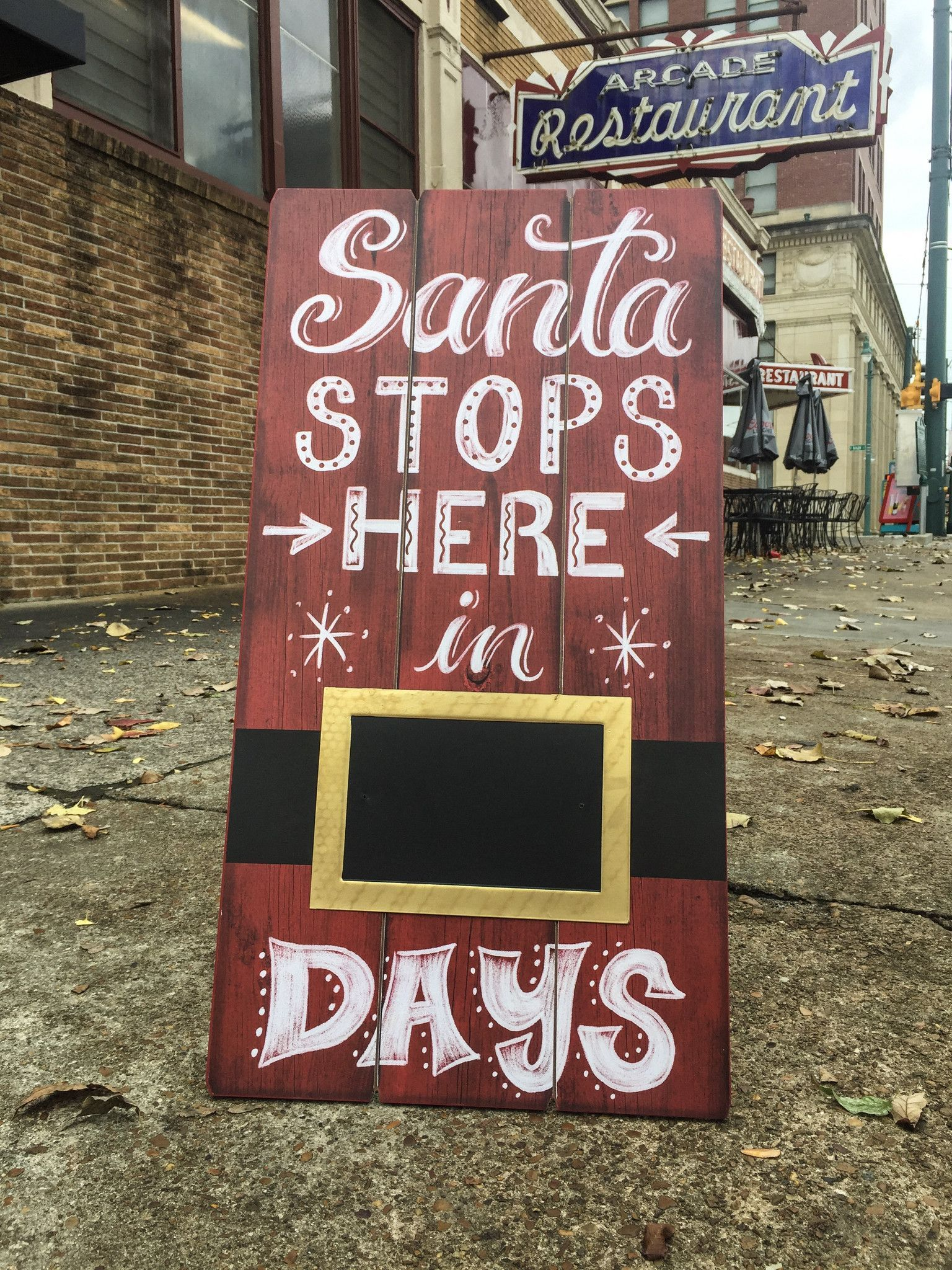 Santa Stops Here In __ Days Rustic Wood Christmas Sign at Walking ...