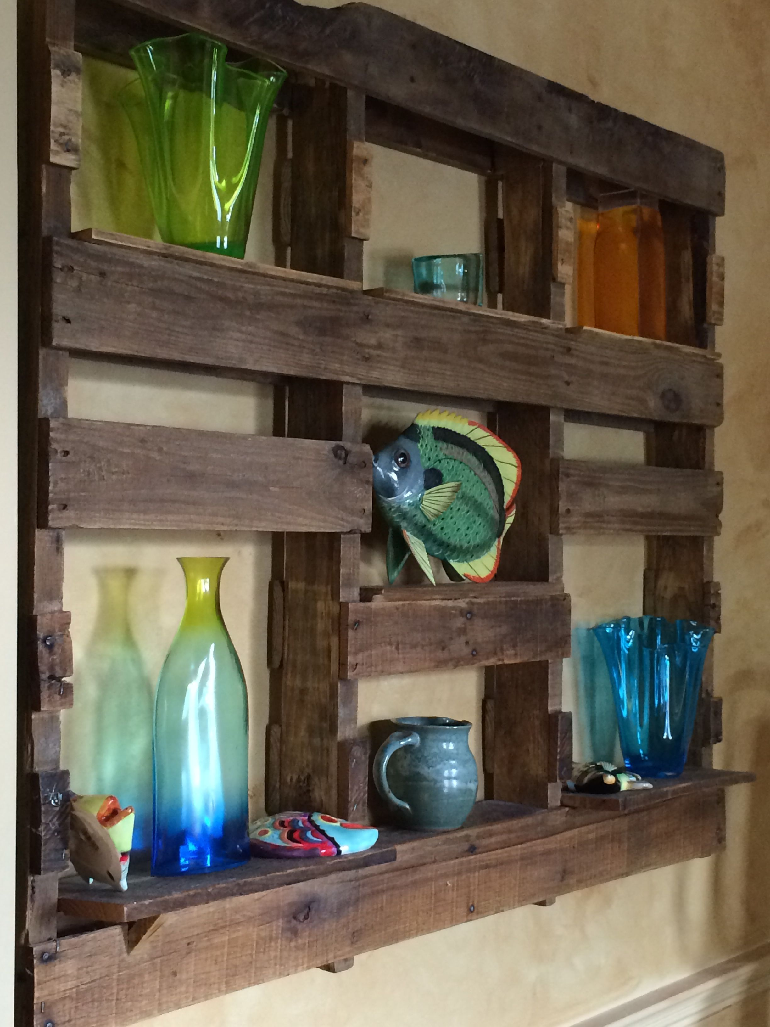 stained pallet wall shelves | Pallet wall shelves, Wood ...