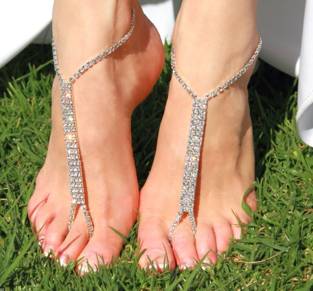 Barefoot beach sandals Bridalwedding diamante anklet foot jewellery