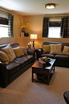 nice finished basement windows w/ blinds and rod and curtains. Gives formal look with window treatments.