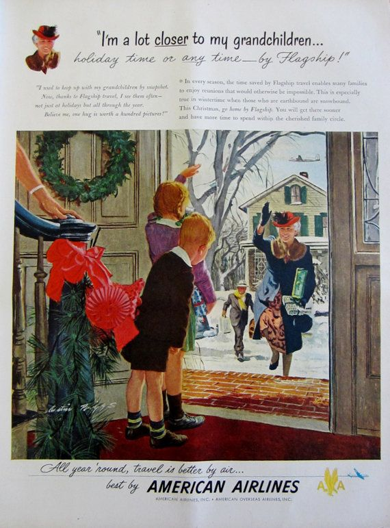1948 American Airlines Vintage Christmas Advertisement by RelicEclectic on Etsy #RelicEclectic #VintageAd #Christmas