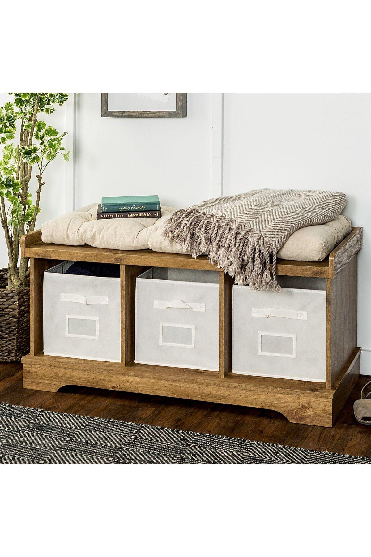 "Walker Edison Furniture pany 42"" Wood Barnwood Storage Bench"