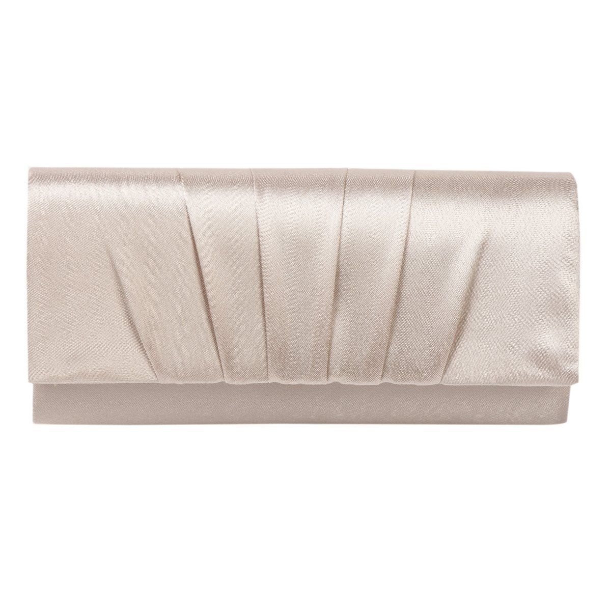 7bd705140bae Damara Womens Satin Pleated Clutch Bag Wedding Bridal Prom Evening ...