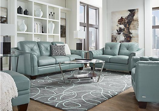 Shop For A Cindy Crawford Home Marcella Spa Blue Leather 3 Pc Living Room  At Rooms