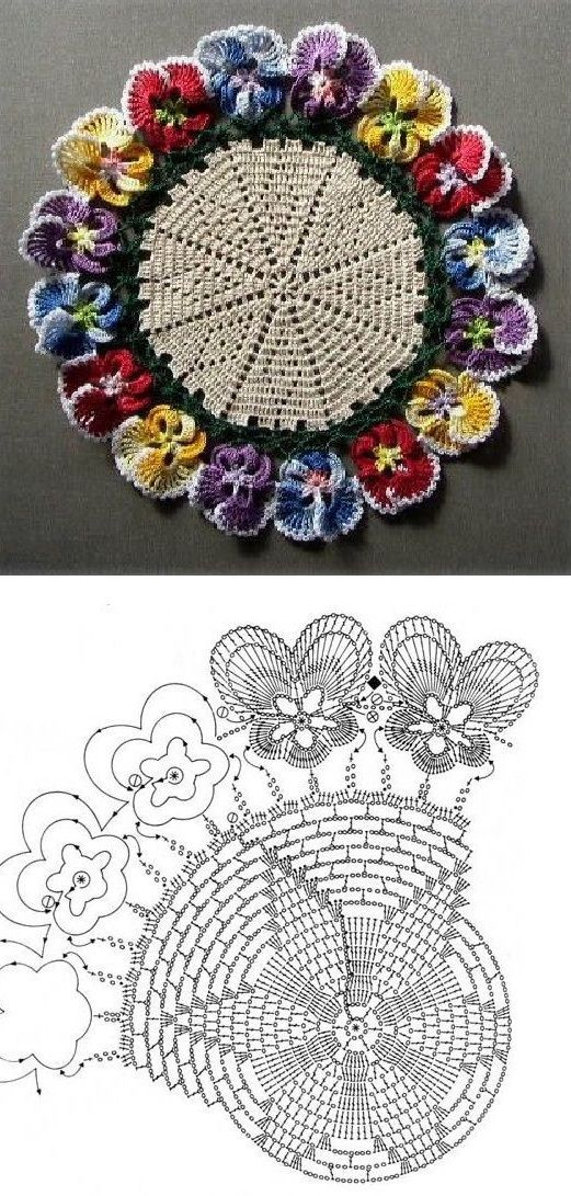 PANSY Crochet Doily with chart. | Patrones | Pinterest | Patrones