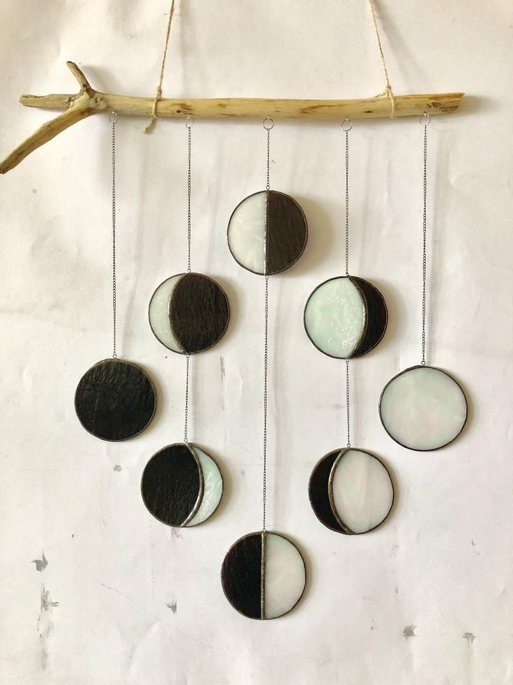 Moon Phase 8 Step mobile window hanging Stained glass Suncatcher Wood iridescent glass Moon Phases Wall art Decor Moon Crescent Full Moon