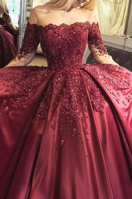 c5467d5c51ec Burgundy Prom Dress, Beaded Prom Dress, Off the Shoulder Prom Dress, Long  Sleeve Prom Dress, Elegant Prom Dress, A Line Prom Dress, Lace Applique Prom  Dress ...