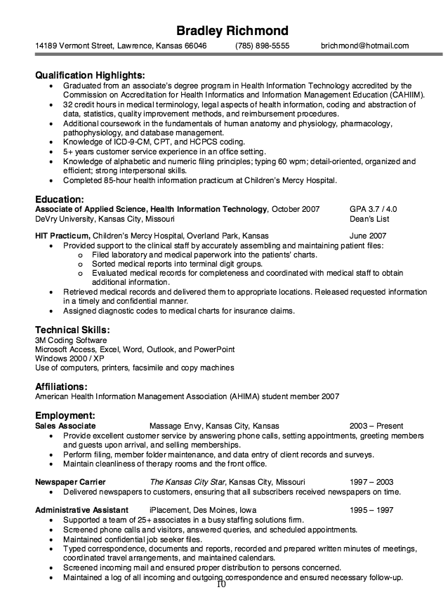 Health Information Technology Resume Sample Resumesdesign Resume Objective Examples Resume Examples Health Information Management