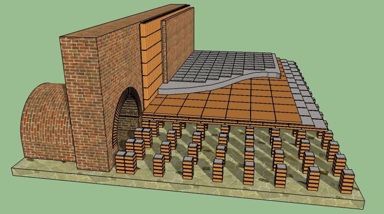 Hypocaust An Early Radiant Floor Heating System Floors Were Supported By Brick Or Stone Piers Whi Radiant Floor Heating Floor Heating Systems Central Heating