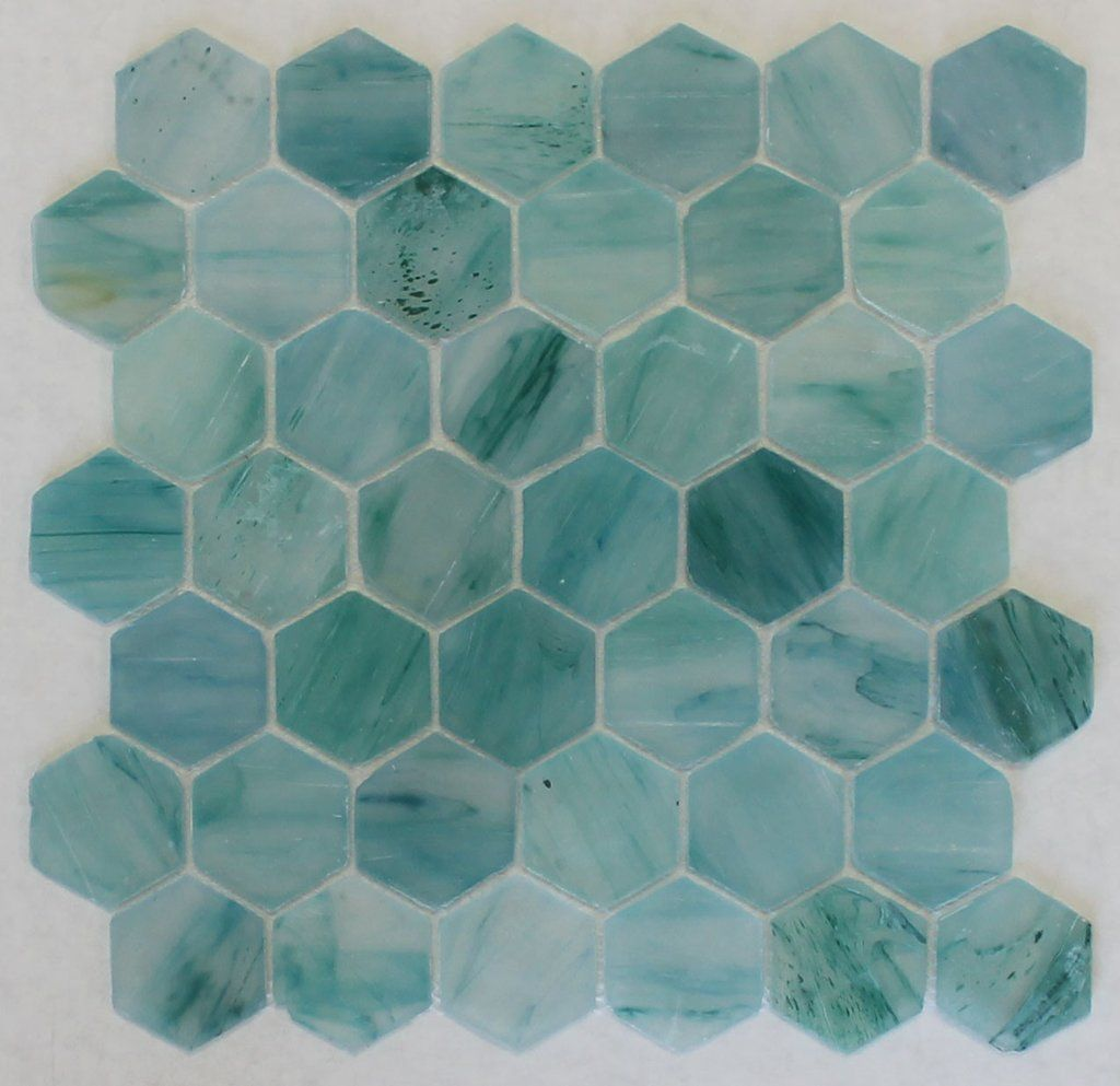 Tidal Wave Recycled Hexagon Glass Mosaic Tile 16 99 Sf Glass Mosaic Tiles Mosaic Glass Tiles