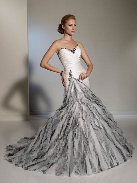 Unique A-line strapless color wedding dress with cascading ruffles ...