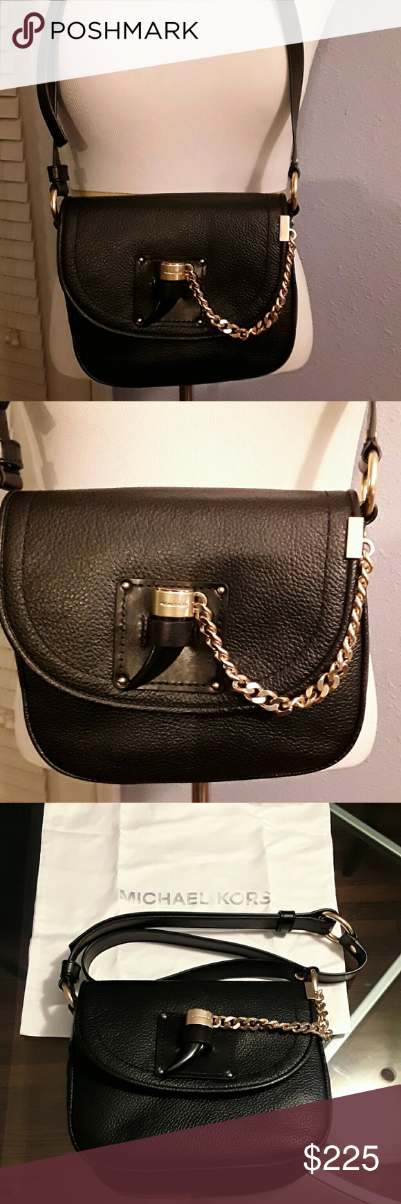 c08fbbeab30f NWT Michael Kors Black James Medium Saddle Bag AUTHENTIC Pebble leather 2  compartment, key holder, zip pocket & phone pocket. Gold hardware, 11 1/2